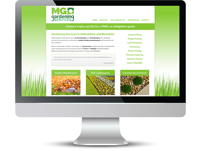 MG Gardening Services Web Screenshot